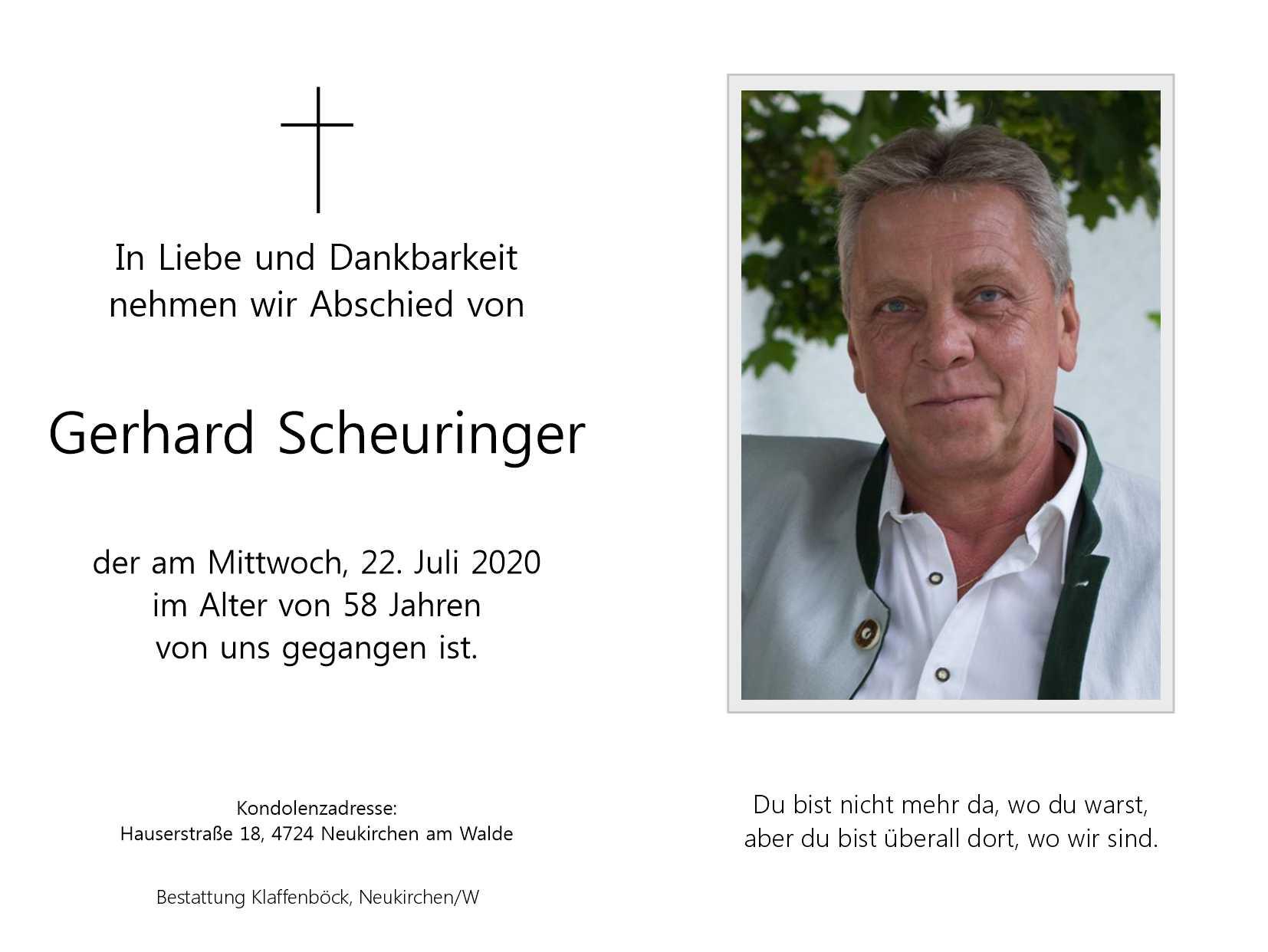 Die Sportunion trauert um Gerhard Scheuringer!